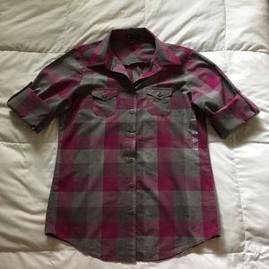 NWOT Gap Plaid Button Down Pink Gray Size Medium